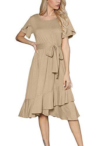 Womens Casual Swing Short Sleeve Loose Midi Belt Dress Daybreak M