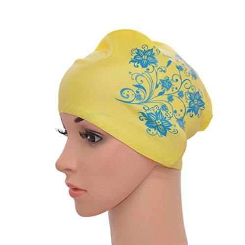 Medifier. Elastico Per Capelli Lunghi In Silicone, Da Donna, Per Piscina, Cuffie, Cappelli, Con Stampa A Fiore, Yellow