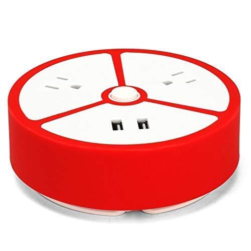 SXXYTCWL Tira de energía de Viaje de la Caja de zócalo - 2 Salidas 2 USB Estación portátil de Carga de Escritorio Cable de extensión Corta para Oficina/Hom. jianyou