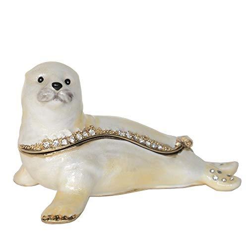 Escultura Animales Sea Seal Trinket Box Bejeweled Jewelry Box Náutico Regalo Decoración Sea Lifel Figurilla Collar Holder