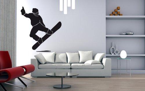 Wandtattoo Wandaufkleber Snowboarder Jump #124B schwarz 90cm x 100cm (RAL9005) VERSANDKOSTENFREI!