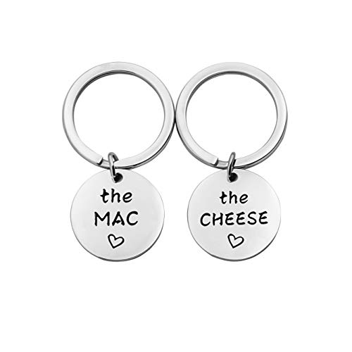 MYOSPARK His and Hers Jewelry The Mac The Cheese Keychain Gift for Couples Anniversary Jewelry Wedding Gift (Mac Cheese Keychain)