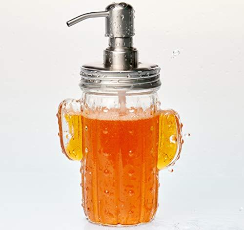 Bahry® Seifenspender Glas Kaktus Design mit rostfreier Edelstahlpumpe - Elegantes Badaccessoire, Ideal für Küche, Bad, Gäste WC und Spüle - Nachhaltig und Nachfüllbar