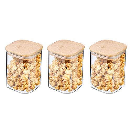 Tarro de Vidrio de Almacenamiento, Tarros de Cristal para Conservas Envases Cristal Alimentos de Bambú Anillo de Silicona Hermético Transparente Cocina Recipientes(750ml)