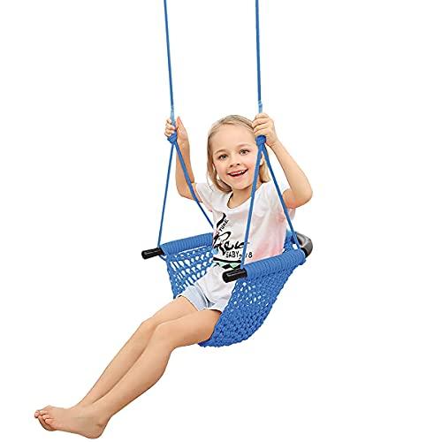 HOMELECT Columpio Infantil, Columpio Exterior Hecho a Mano con Hebilla y cinturón de Seguridad, Apto para terrazas Interiores y Exteriores, Apto para niños de 2 a 12 años,Azul
