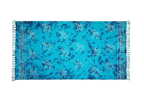 MANUMAR Damen Pareo blickdicht, Sarong Strandtuch in Blau mit Delfin Motiv, 175x115cm, Handtuch Sommer Kleid im Hippie Look, Sauna Hamam Lunghi Bikini Coverup Strandkleid