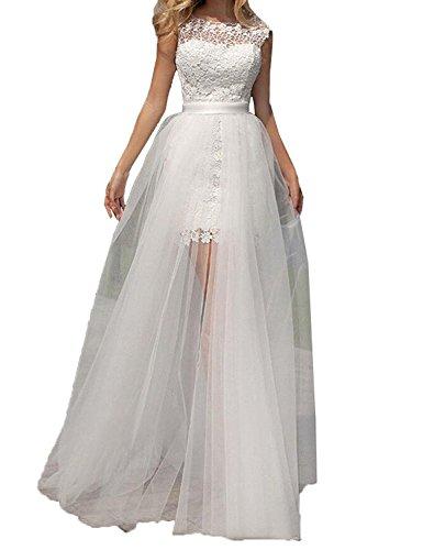 Tianshikeer Brautkleid Zweiteilig Spitze Tüll Lang Sexy Hochzeitskleid 2 Teilig