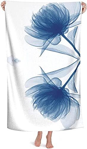 LUYIQ Toalla de Playa Grandes de Antiarena de Microfibra para Hombre Mujer, Flor Azul -150x70cm, Toallas Baño Secado Rapido para Piscina, Manta Playa, Toalla Yoga Deporte Gimnasio