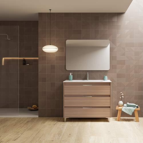 Suki mueble de baño, acabado en Nogal Arenado, con 3 cajones y anchura de 100 cms; incluye lavabo cerámico