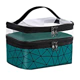 mreechan borsa cosmetica, doppia Make Up Organizer Bag impermeabile, vano trasparente superiore,...