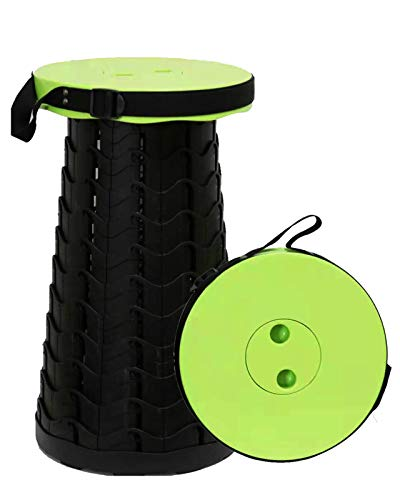 2021 Upgraded Retractable Folding Stool, Portable Telescopic Collapsible Stools Lightweight Simple Compact Seat for Adults Seniors Subway Fishing Garden Camping Travel Hiking Golf Outdoor(Green)