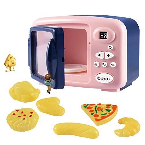 iFlymisi Juego de microondas de Cocina de Juguete, Juego de microondas de Juguete electrónico para niños con Comida y plastilina para niños pequeños, niñas y 2 3 4 5 6 años