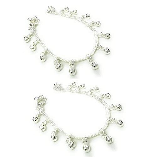 SataanReaper Presents Silver Plated Anklets Payal Ghungaroo for Kids Children Baby Girls (0-2 Years) #SR-1443