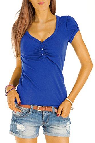Bestyledberlin Damen T Shirt Oberteile Basic Top Shirt Stretch kurzarm mit Knöpfen t01p - S/36-38/M - Ozeanblau