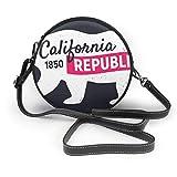 BAODANLA Bolso redondo mujer Shoulder Bags Women Round Bags California Republic Bear. Vintage Poster Crossbody Leather Circle Bag