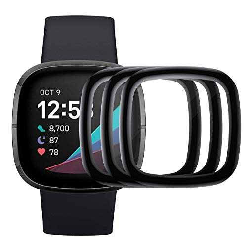 KIMILAR 3D Screen Protector compatible with Fitbit Sense/Fitbit Versa 3, (3 Pack) Flexible Full Coverage HD Bubble-free Film Cover Screen Protector compatible with Fitbit Versa 3 / Fitbit Sense
