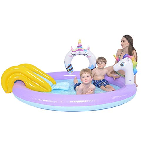Gazaar Piscina con spray de unicornio, inflable, para salpicaduras, para niños, diseño de unicornio, bebé, vadeo, piscina, patio trasero, fuente