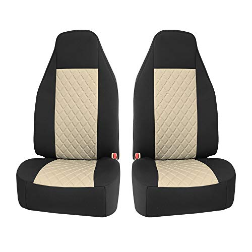 FH Group FB118BEIGE102 NeoSupreme Car Seat Covers Deluxe Quality High Back Car Seat Cushions- Front Easy Installation, Beige