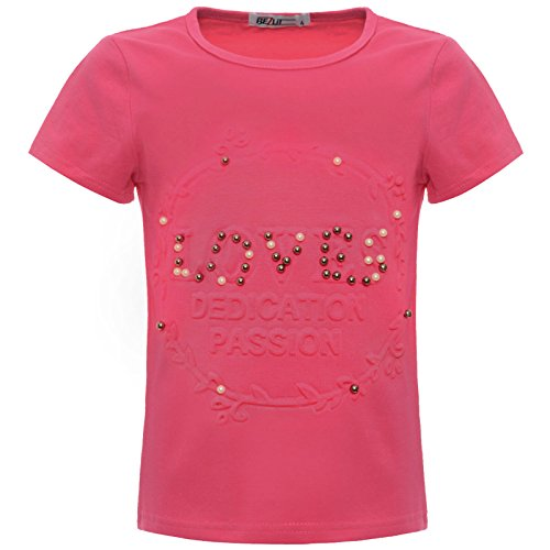 BEZLIT Mädchen Kinder Glitzer T-Shirt Oberteil Kunst-Perlen 22539 Pink 140