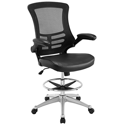 Modway Attainment Vinyl Drafting Chair - Drafting Stool With Flip-Up Arm in Black