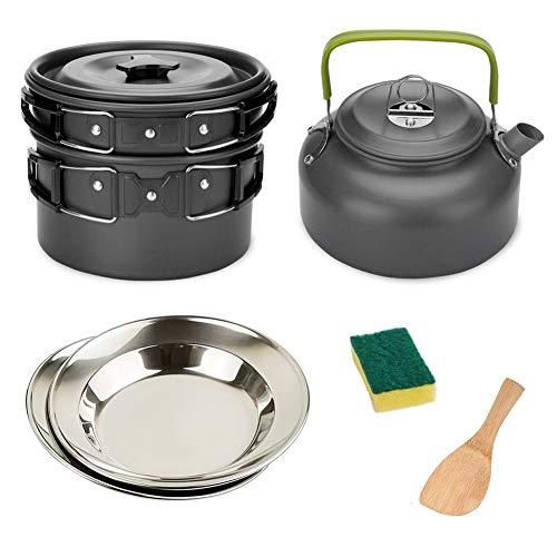 Juego de utensilios de cocina para acampar al aire libre, utensilios de cocina para acampar, portátil, juego de hervidor de cocina (color: negro)