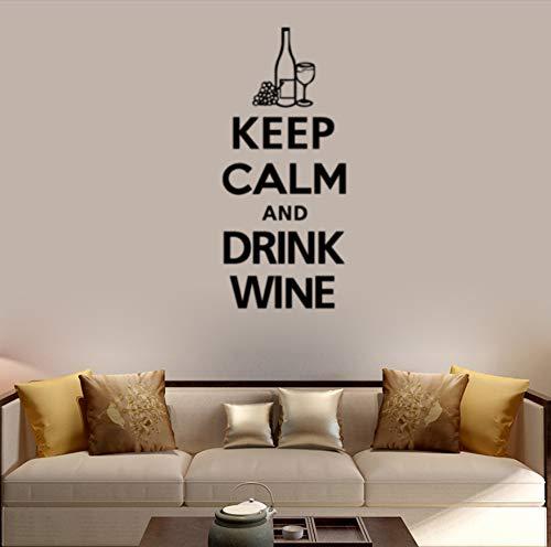 Etiqueta de la pared Botella de vino Mantenga la calma Mural de la pared Sala de estar Dormitorio Decoración de la barra de fondo Etiqueta de vinilo removible42 cm * 96 cm