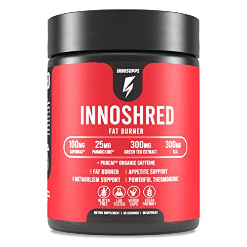 Inno Shred - Day Time Fat Burner   100mg Capsimax, Grains of Paradise, Organic Caffeine, Green Tea Extract, Appetite Suppressant, Weight Loss Support (60 Veggie Capsules)   (with Stimulant)
