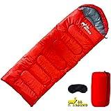 GO ROUND 寝袋 シュラフ 封筒型 車中泊 軽量収納袋 登山 丸洗い可能 アイマスク付 (レッド 1.0kg)