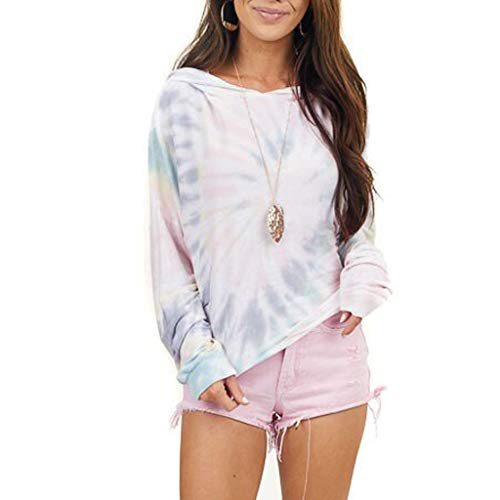Best Deals! AHUIGOYCE Women O-Neck Tie Dye Gradients Printing Long Sleeves Hood Socket Pullover Blou...