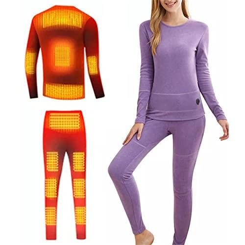 Ropa Interior Térmica Aislamiento, Conjunto Camisetas Y Pantalones Térmicos Manga Larga Calefacción Eléctrica USB con Control Temperatura, Calentador Cuerpo para Mujeres,Púrpura,L