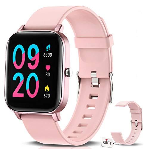 """NAIXUES Smartwatch, Reloj Inteligente Impermeable IP67 Reloj Deportivo 1.4"""" Pantalla Táctil Completa con Pulsómetro, Monitor de Sueño, Podómetro, Notificaciones para Mujer Hombre (Rosa)"""