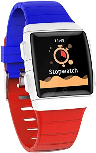 Gymqian Smart Watch, 1.3-Inch IPS Super Dazzling Large Screen Ip68 Waterproof and Super Battery Life, Smart Bracelet with Seven Sports Modes-Black Holiday Gift/Blue and red