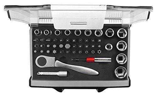 "CAROLUS 4400.0049 Steckschlüssel-Satz 1/4"" mit Bit-Fix-Adapter compact 49-TLG"