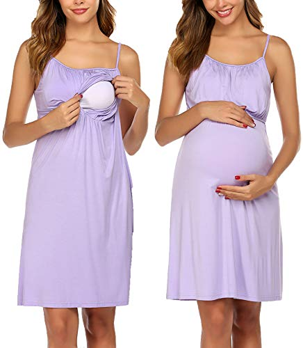 Ekouaer Maternity Gowns for Breastfeeding Nursing Sleepwear Sling Nightdress Maternity Clothes