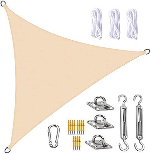 FFJD Vela De Sombra Sun Shade Sail Canopy Triangle UV Block Impermeable Sun Shade Toldo con Kit De Fijación para Jardín, Patio, Piscina, área De Barbacoa, Color Crema(Size:4X4X5.7m/13X13X18.7ft)