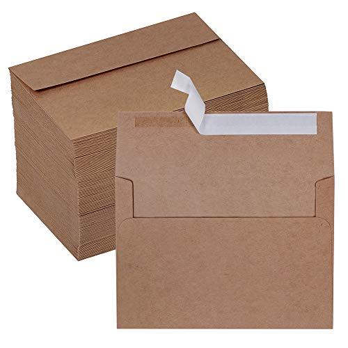 Winlyn 150 Pcs 4x6 Envelopes A4 Invitation Envelopes Self Seal Brown Kraft Envelopes 4x6 Greeting Cards Envelopes Mailing Photo Envelopes for Wedding Holiday Baby Shower Party Stationery Envelopes