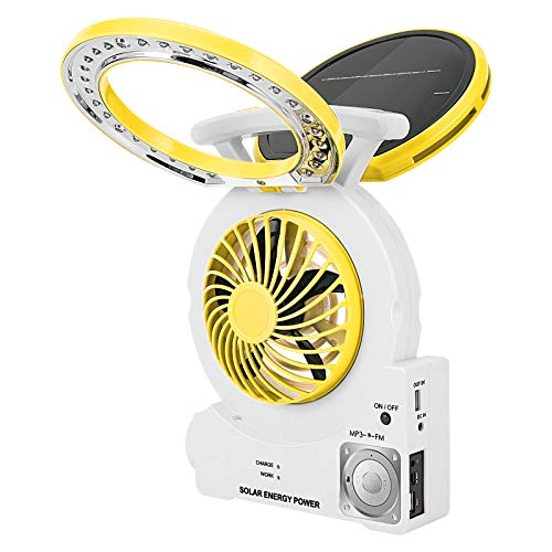 Multi-Function Solar Fan with Radio/MP3/Table Lamp/Torch/Cell Phone Charging Portable Emergency Outdoor Electric Fan for Camping Fishing and Hurricane (Yellow)