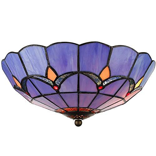 Rindasr glas in lood plafondlamp, 9.8 inch vintage Tiffany stijl plafond licht glas schaduw, voor slaapkamer, hal, woonkamer