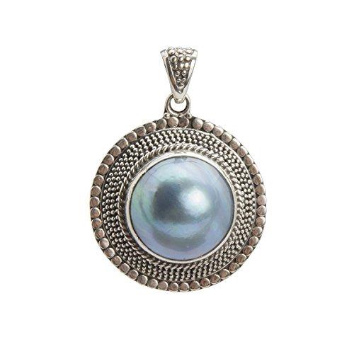 Shadi - Colgante elaborado a mano en plata de ley con perla natural azul - joyería de plata artesanal