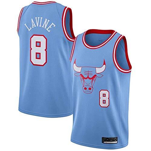 ZSPSHOP Maillot para hombre y mujer, diseño de Chicago Bulls No.8 Lavine Jersey de baloncesto bordado transpirable (color: azul claro, tamaño: XL)