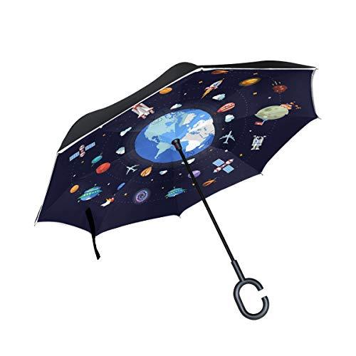 Umkehrbarer Regenschirm, Erde Space Icons Winddichter Regenschirm, Umkehrschirm, Regenschirme mit UV-Schutz, umgekehrter Regenschirm mit C-förmigem Griff