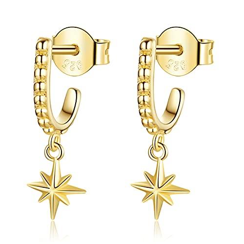 HMMJ Pendientes de botón, Plata de Ley 925, Regalos de Estrella chapados en Oro Real para Mujeres y niñas, se Adapta a Orejas sensibles con joyero SCE1252