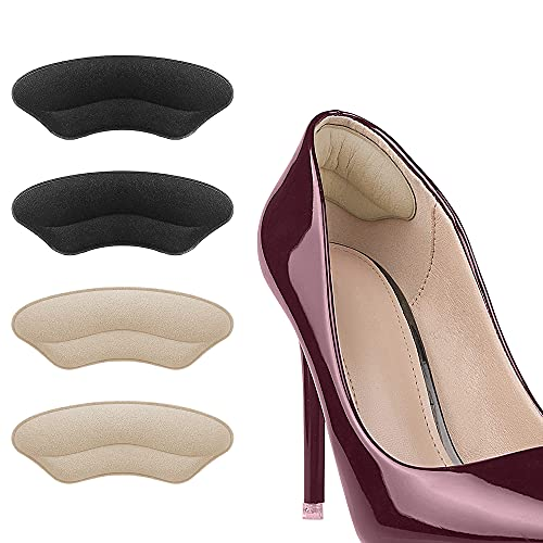 4 Pairs Heel Grip Shoes Too Big, Self-Adhesive Heel Cushion,Anti-Slip Shoe Pads,Shoe Insoles for Ladies Liners Heel Blister Protectors for Women Men, Fit and Comfort- (Black & Apricot )