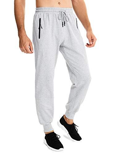 Sykooria Joggers Sweatpants for Men,Lightweight Sport Drawstring Long Pants with Zipper Pockets Grey