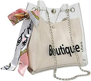 Wultia - Clear Bag Bucket Bag Fashion Transparent Women's Shoulder Messenger Beach Casual Shopping Bag Bolsa Feminina White