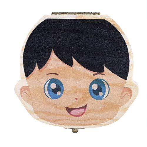 Boîte à dents Lait pour bébé, version en couleur lait, organisateur pour dents de lait pour bébé, boîte à rangement en bois pour boîtes à dents (couleur garçon espagnol) (Edition : Color English Boy)