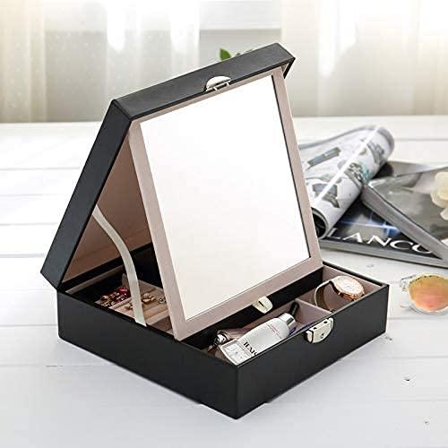 Gymqian Titular de Maquillaje Organizador Joyeria Caja de Joyería de Madera Caja de Alenamiento de Joyería de Cuero Hecho a Mano Alta capacidad