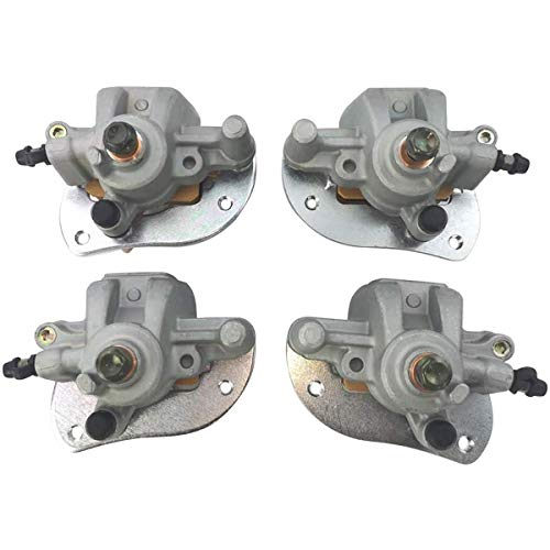M MATI Front & Rear Brake Calipers for Yamaha ATV 2009-2014 Grizzly 550 YFM550 2007-2020 Grizzly 700 YFM700 with Pads