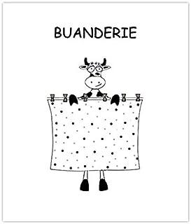 Plaque de porte de buanderie vache noire et blanche, signalétique buanderie lingerie humoristique