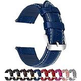 Fullmosa Cinturino 20mm Orologio, Bambu Cinturini in Pelle, Compatible con Amazfit Bip/Bip Lite, Amazfit GTS/GTR 42mm, Huawei Watch GT 2 42mm, Blu Scuro 20mm